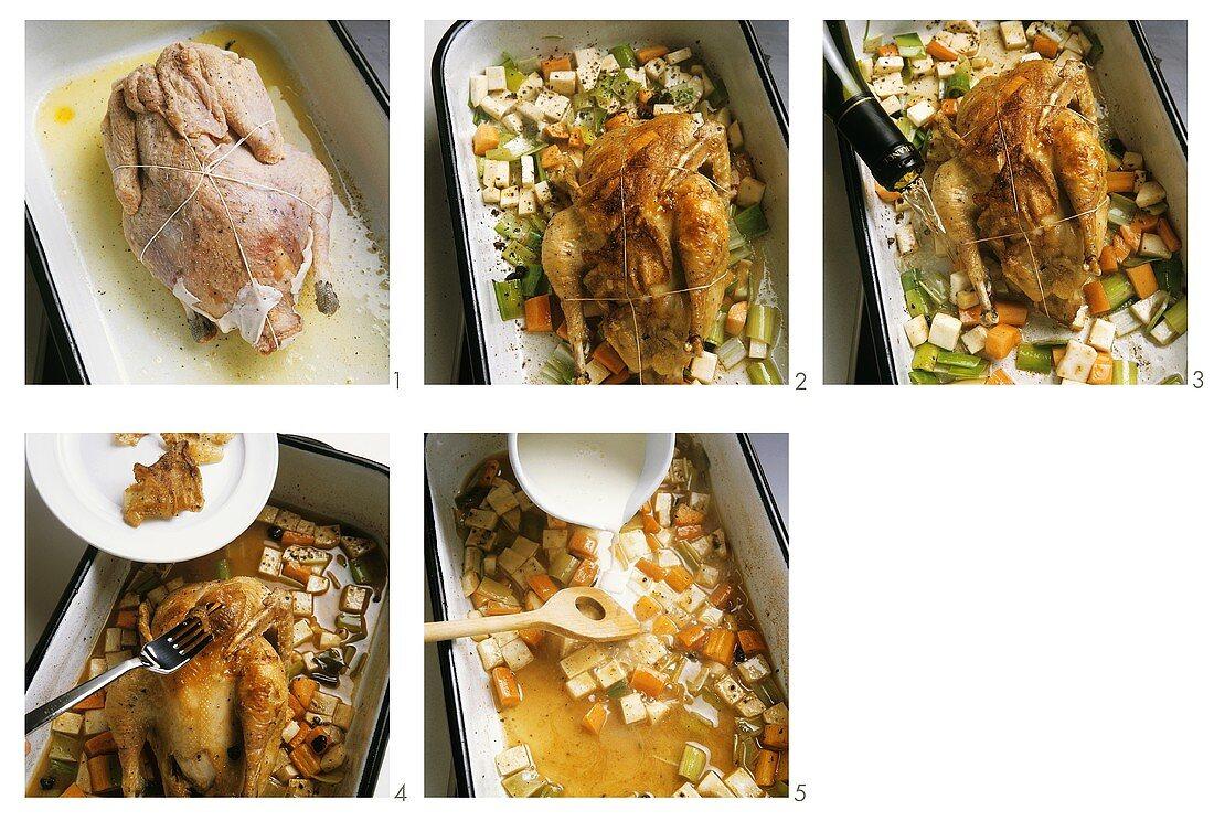 Roasting wildfowl: preparing pheasant with white wine