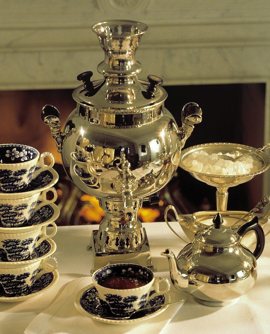 Tea Scene with Silver Tea Service