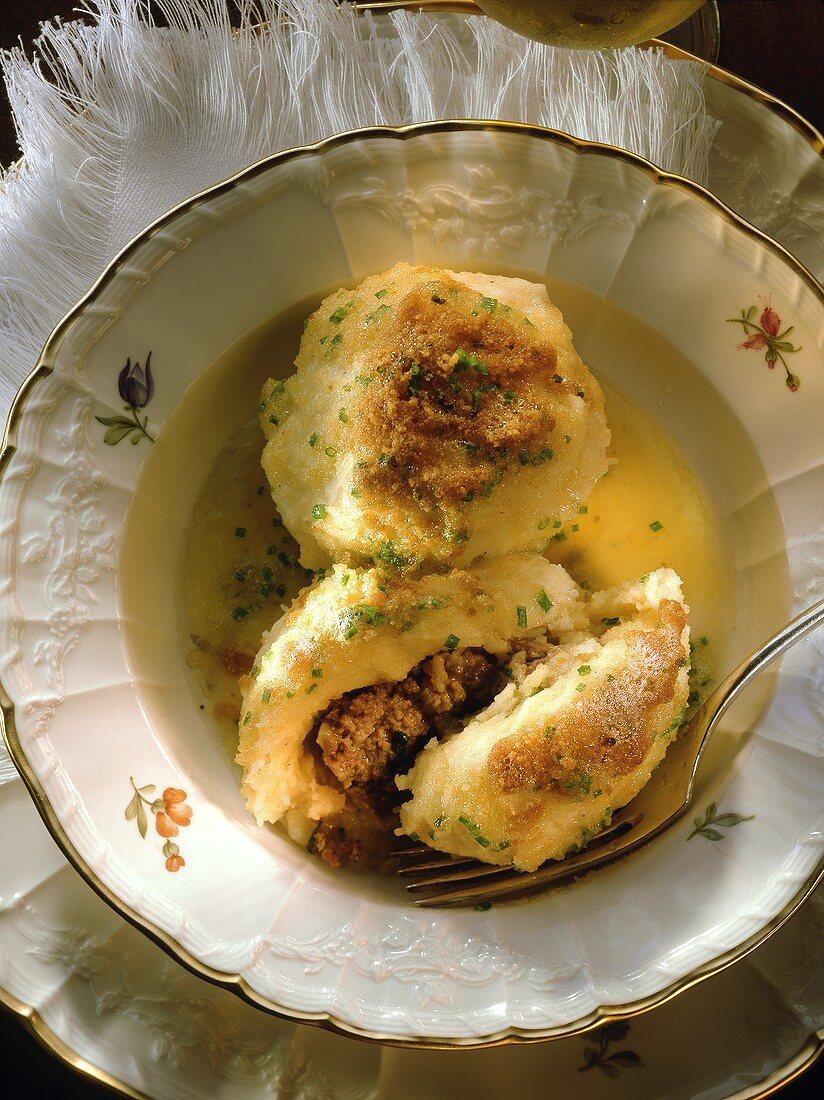 Gefillte - potato dumplings stuffed with mince