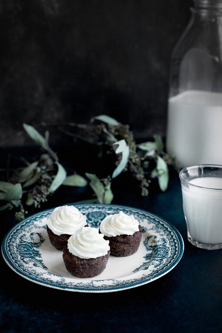 Brownie Bites with Orange Blossom Mascarpone Frosting served with milk