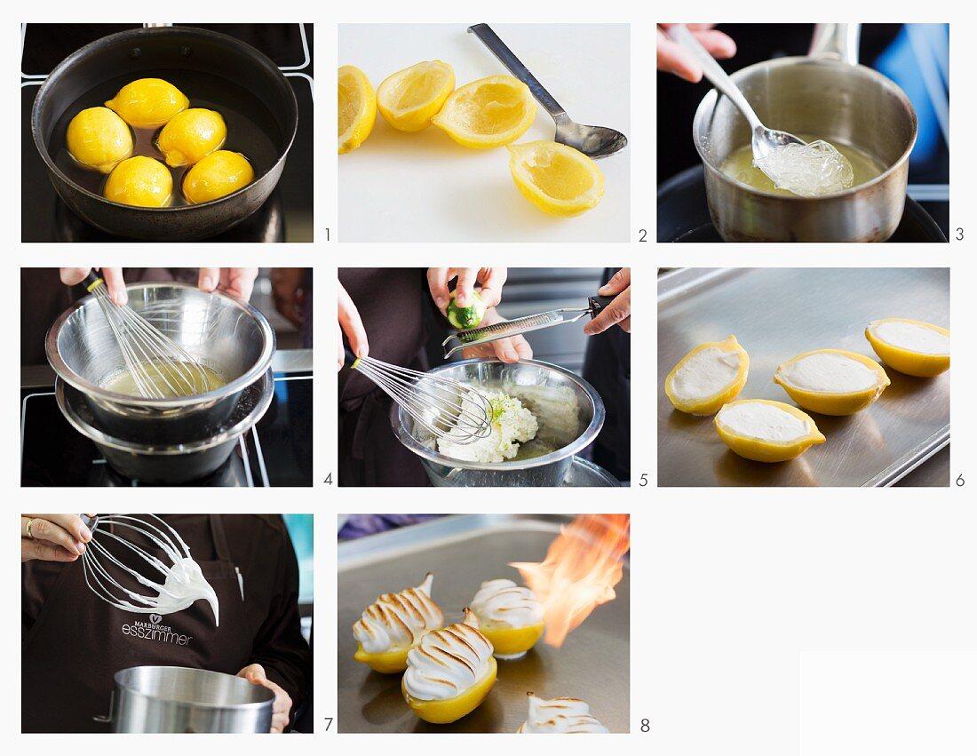 Amalfi lemons with lemon cream and meringue being made
