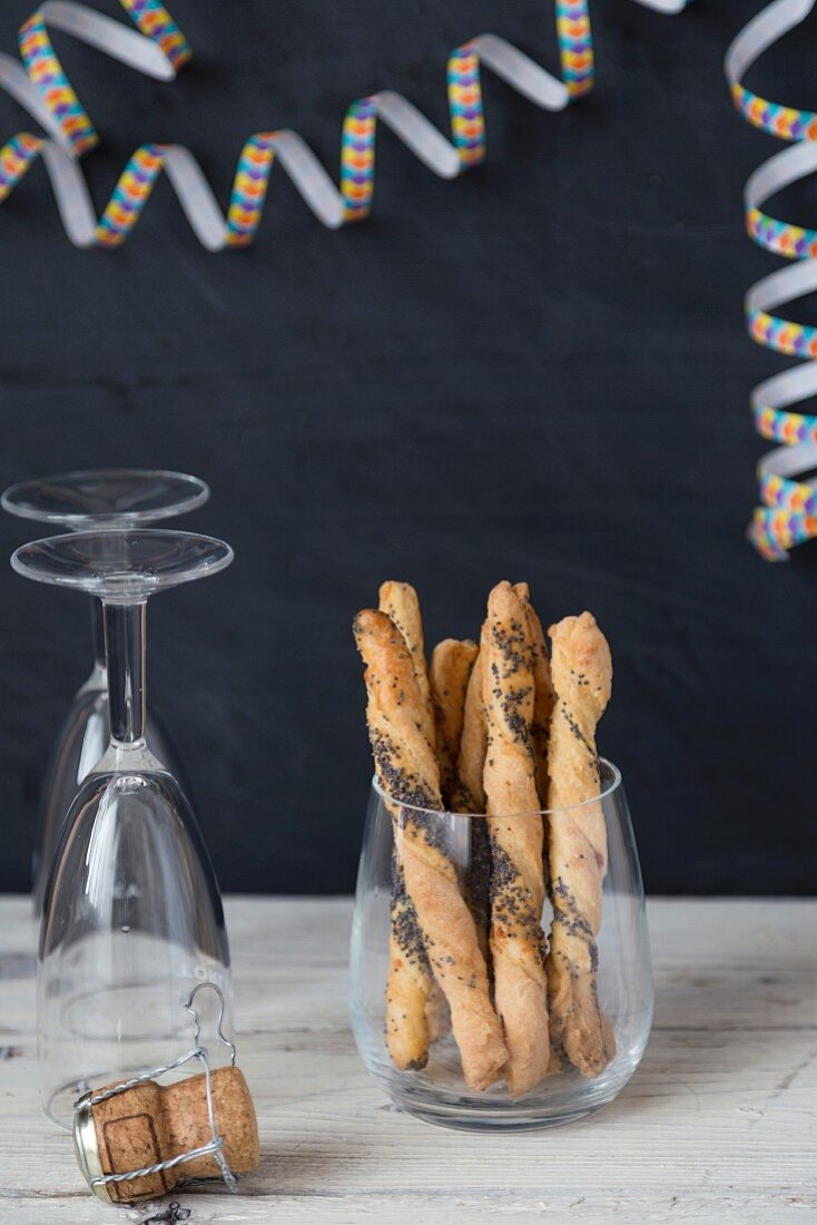 Poppyseed sticks for a party