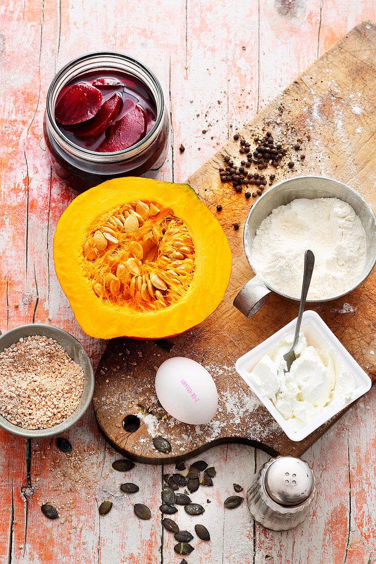 Ingredients for pelmeni filled with Hokkaido pumpkin, freekeh and goat's cream cheese