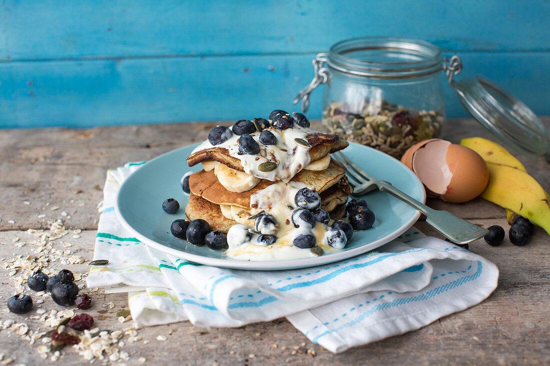 Gluten-free banana pancakes with blueberries