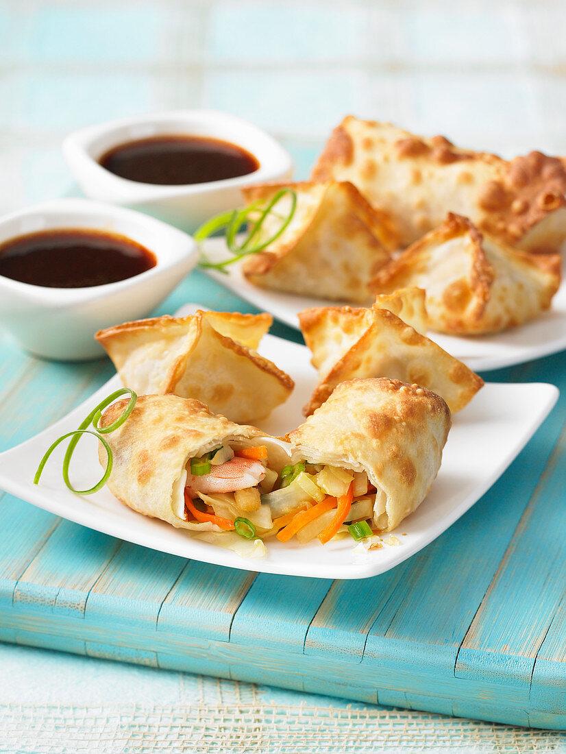 Airfryer eggrolls and crab rangoon (Asia)