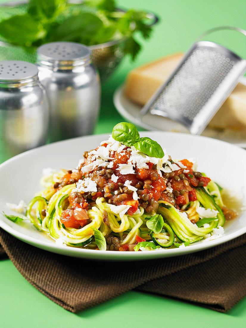 Spiralizer zuchinni spaghetti with lentil marinara