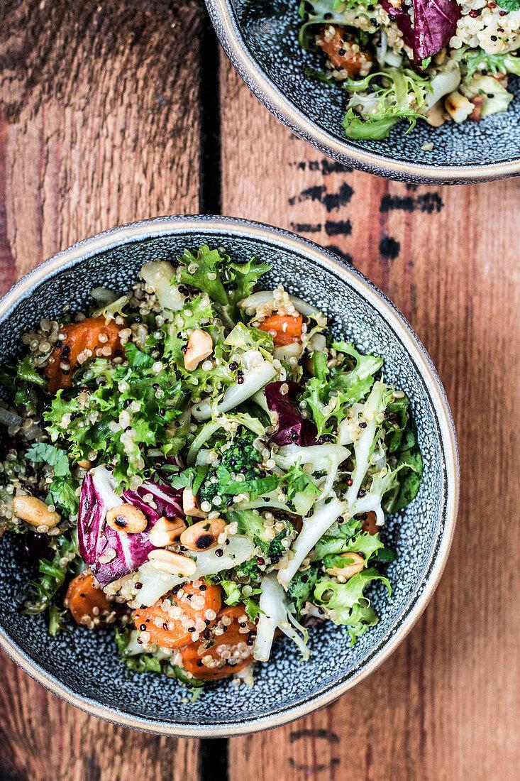 Quinoa salad with broccoli and peanuts