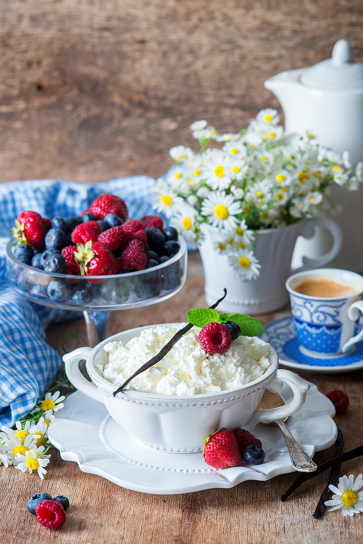 Cottage cheese (Russian Tvorog) served for breakfast