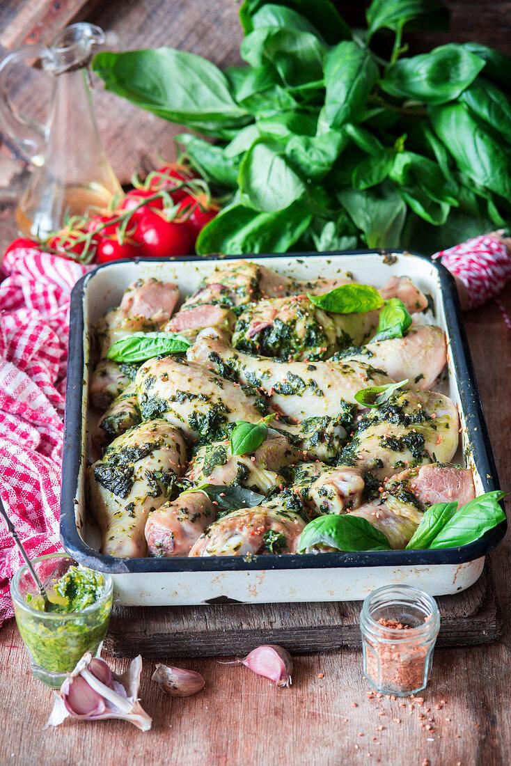 Roasted pesto chicken legs