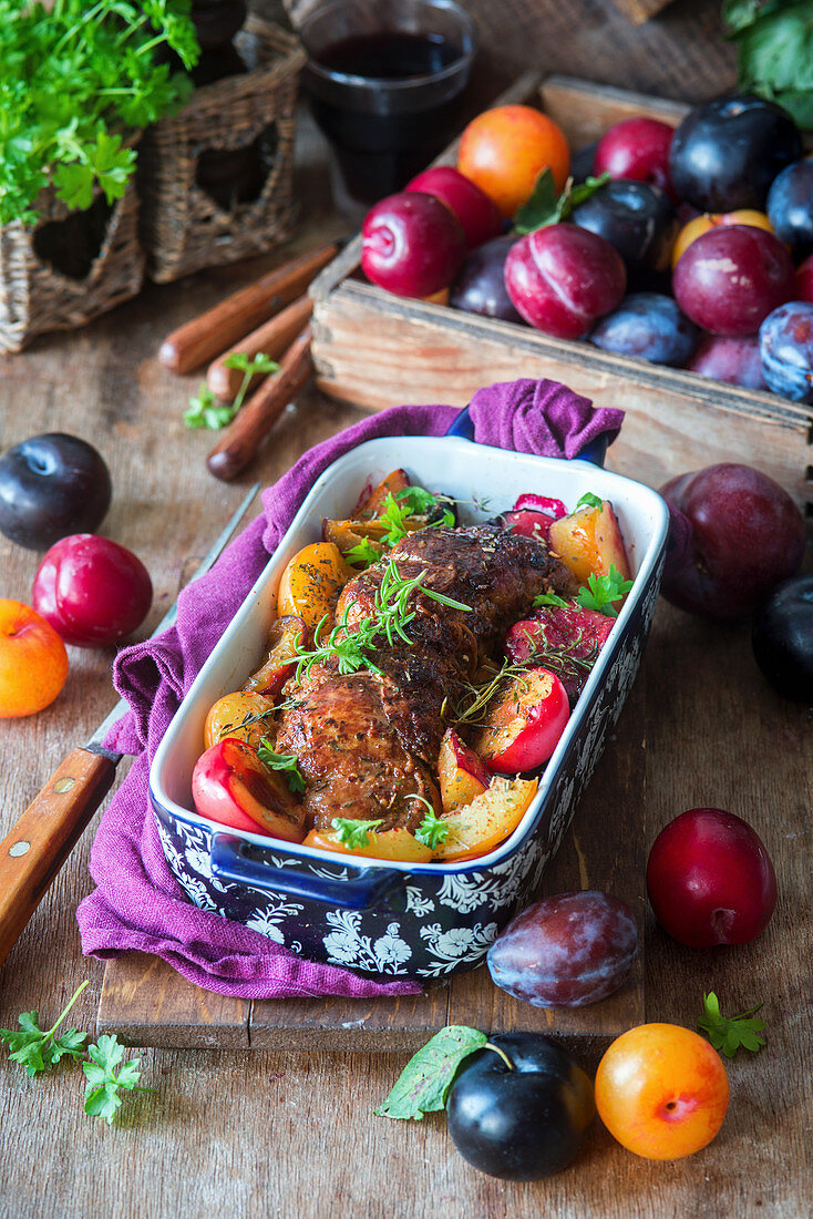 Roasted pork fillet with plums