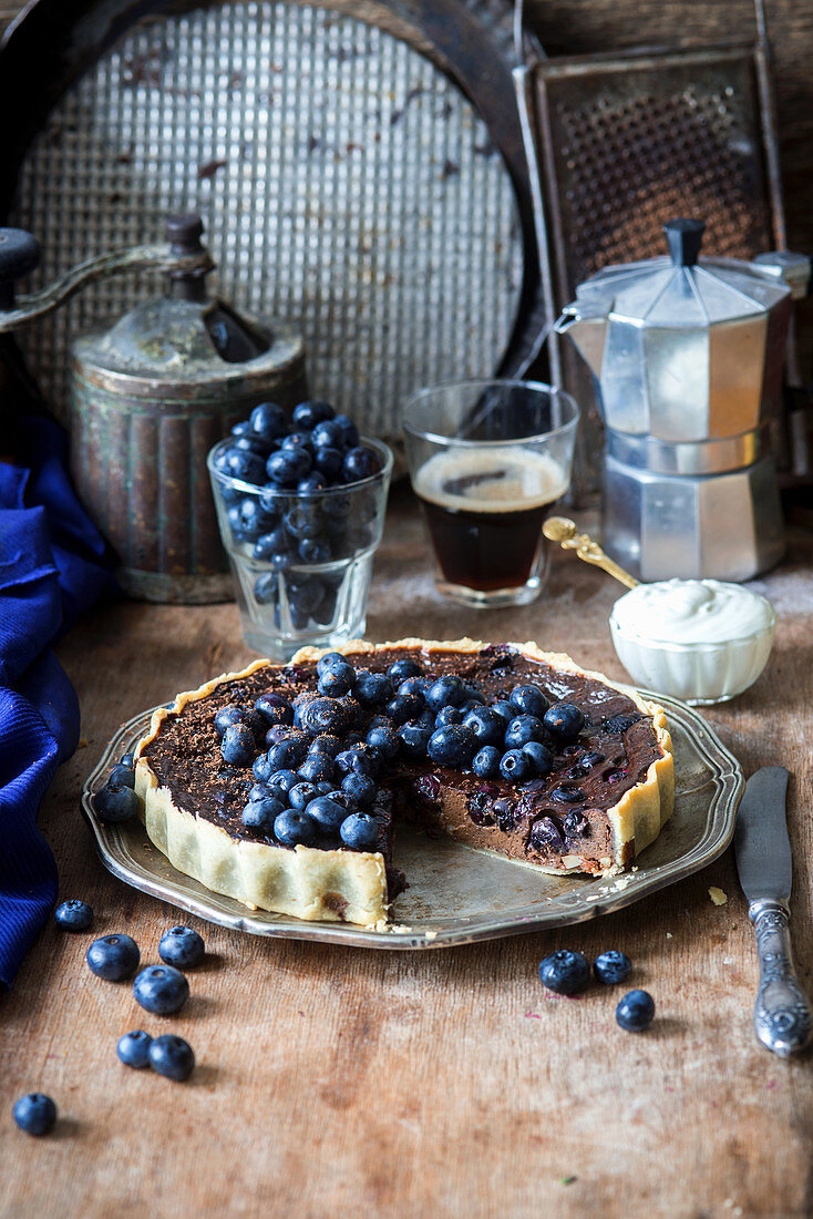 Blueberry and chocolate pie