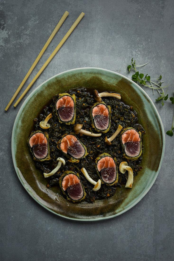 Maki sushi with mushrooms