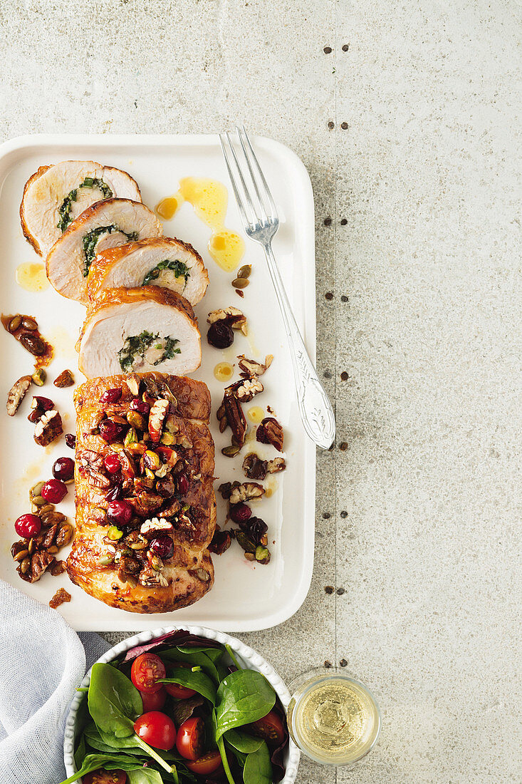 Garlic and herb turkey roulade with Christmas crumble