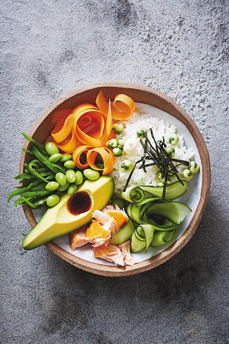 Salmon and avocado sushi bowl