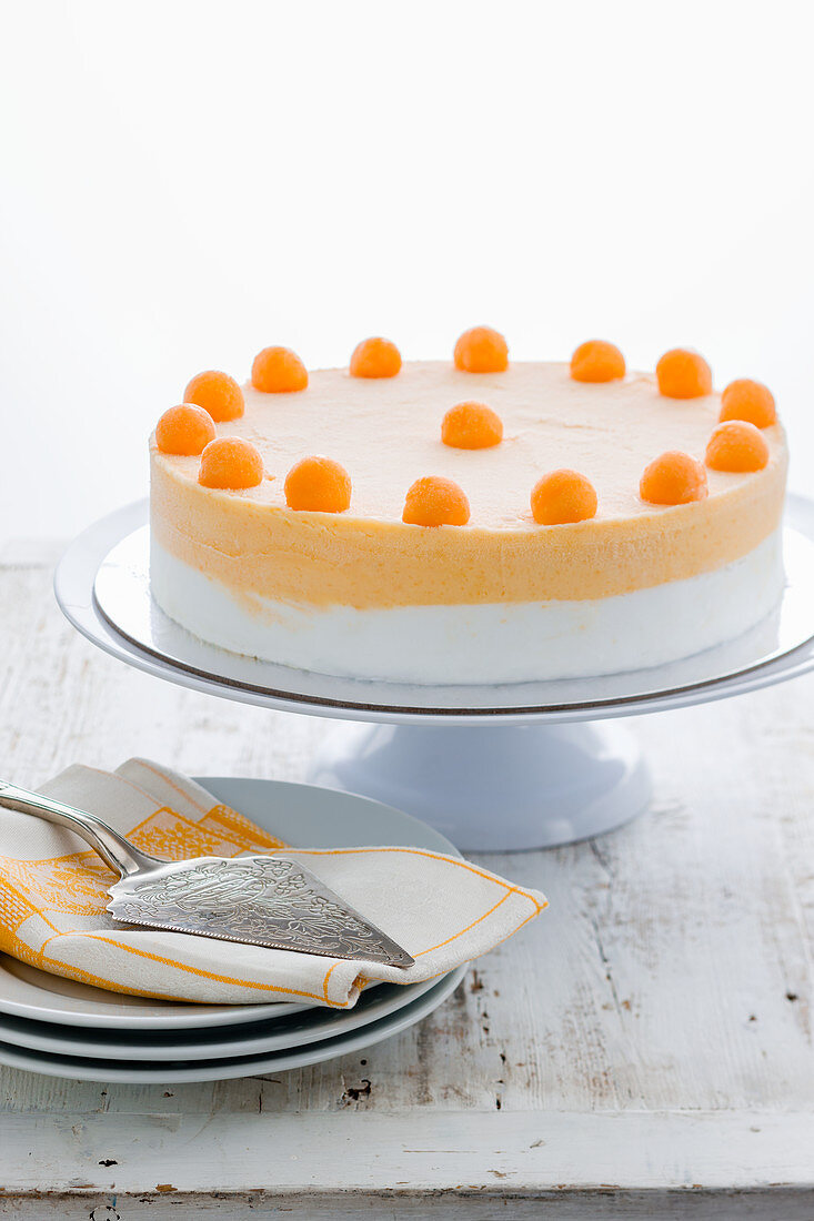 Gelato cake topped with honeydew melon balls on a cake stand