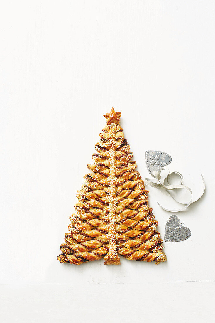 A Christmas tree made from chocolate biscuits