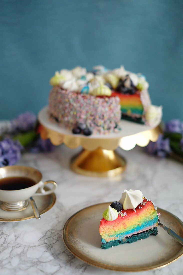 A slice of rainbow cheesecake on a plate