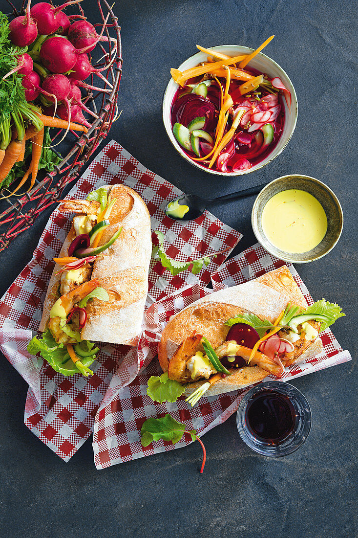 Prawn baguettes with pickled spring vegetable and saffron aioli