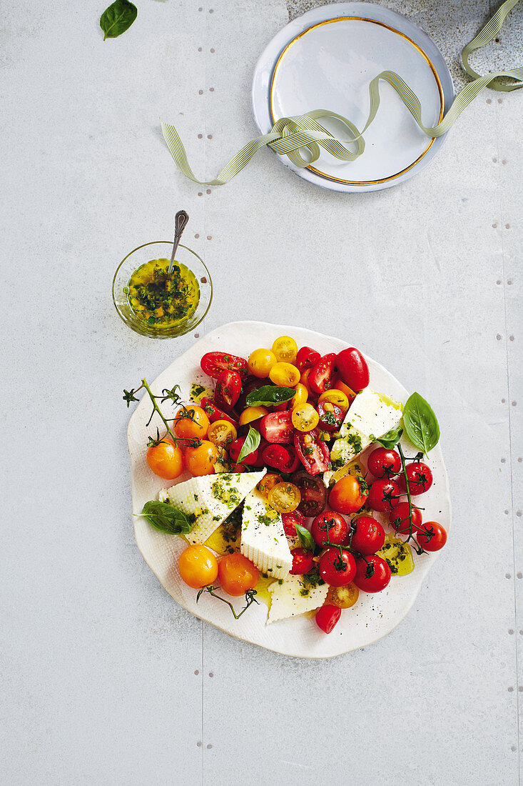 Tomato salad with ricotta with preserved lemon dressing (Christmas)