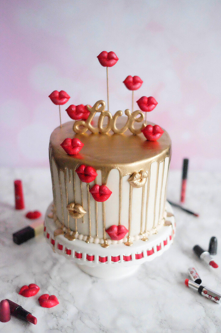 Donauwellen (German marble cake) dripping cake for Valentine's Day