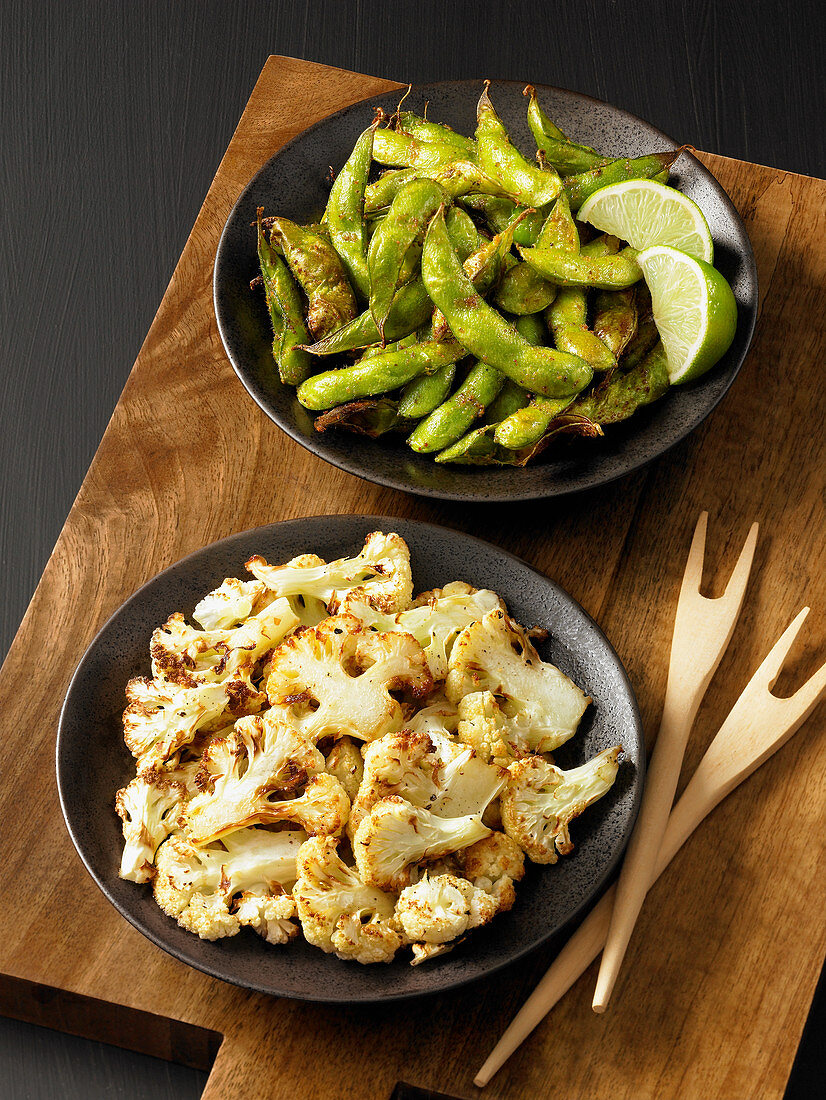 Crispy cauliflower and edamame beans