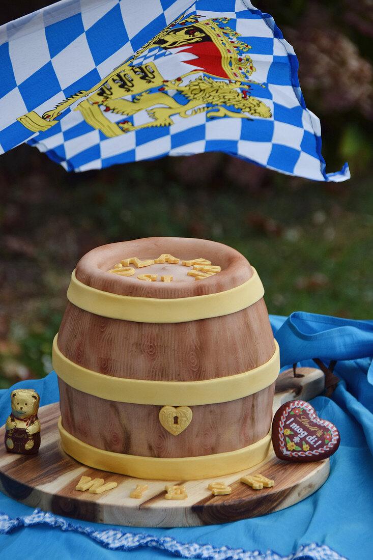 A wheat beer, peanut, and banana keg for Oktoberfest