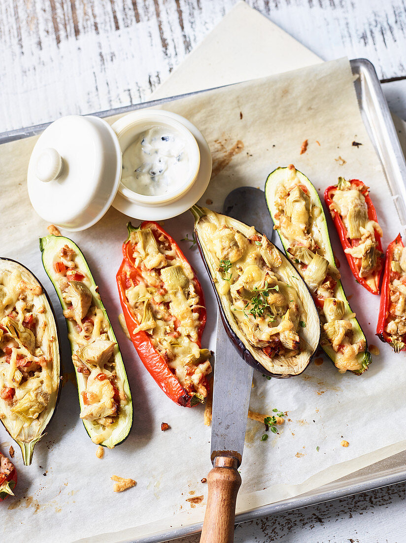 Stuffed, oven-roasted vegetables