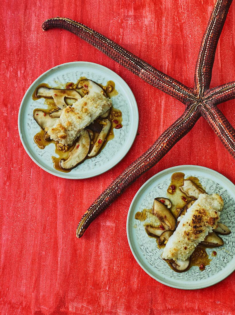 Fish with shiitake mushrooms and macadamia nut crust (Hawaii)