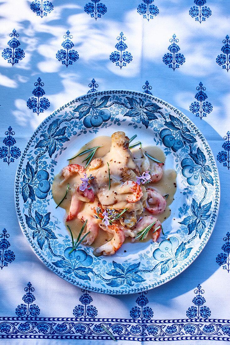 Chicken and crayfish fricassee