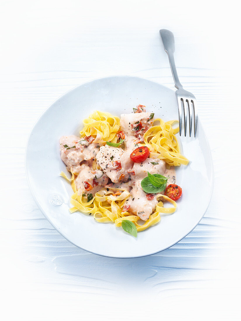 Red perch ragout with ribbon noodles
