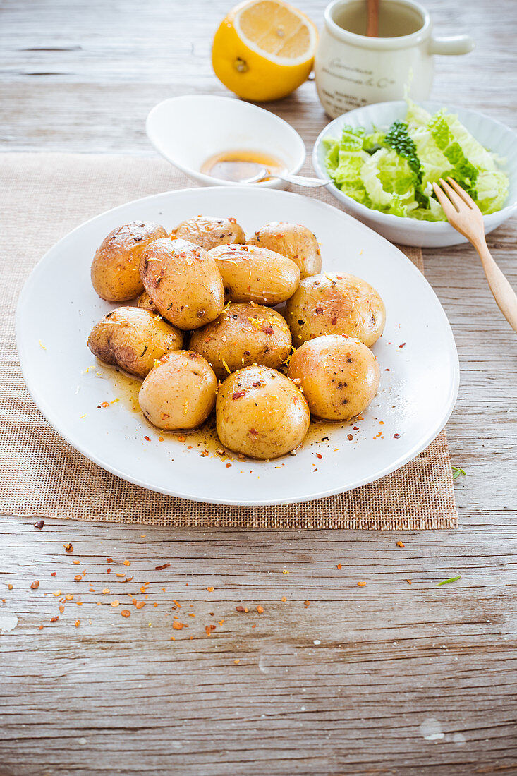 New potatoes with lemon and chili butter