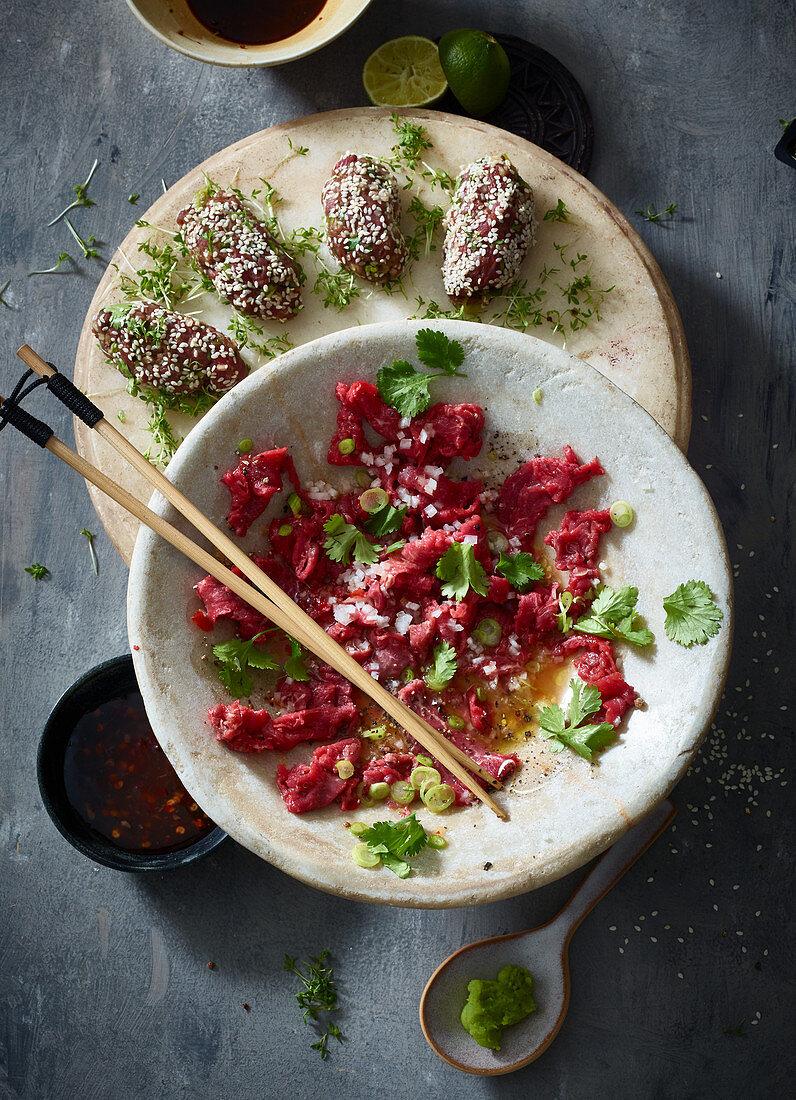 Beef tartare with radish and wasabi (Asia)