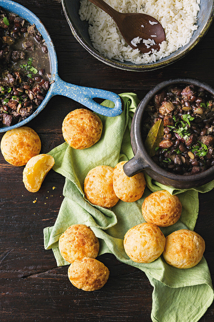 Black beans with chorizo and cheesy bread puffs