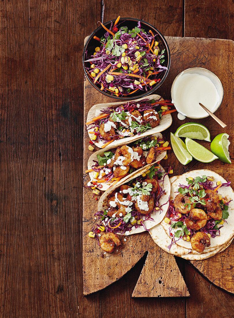 Spicy prawn and slaw tacos