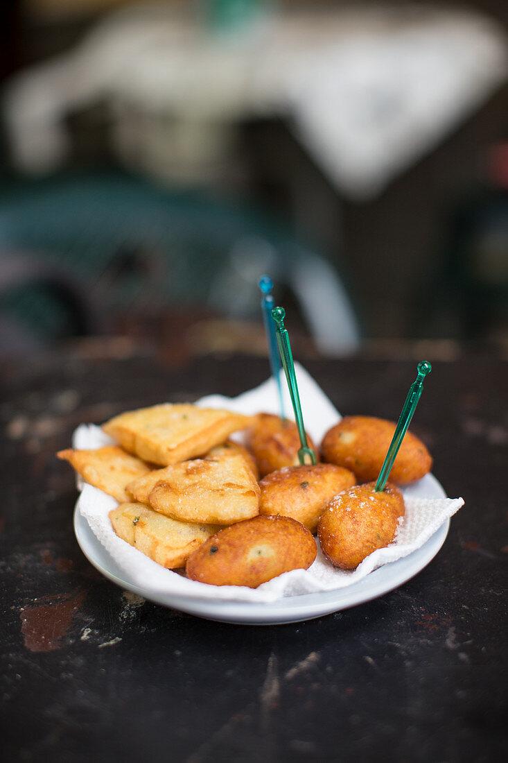 Panelle and Potoato croquettes