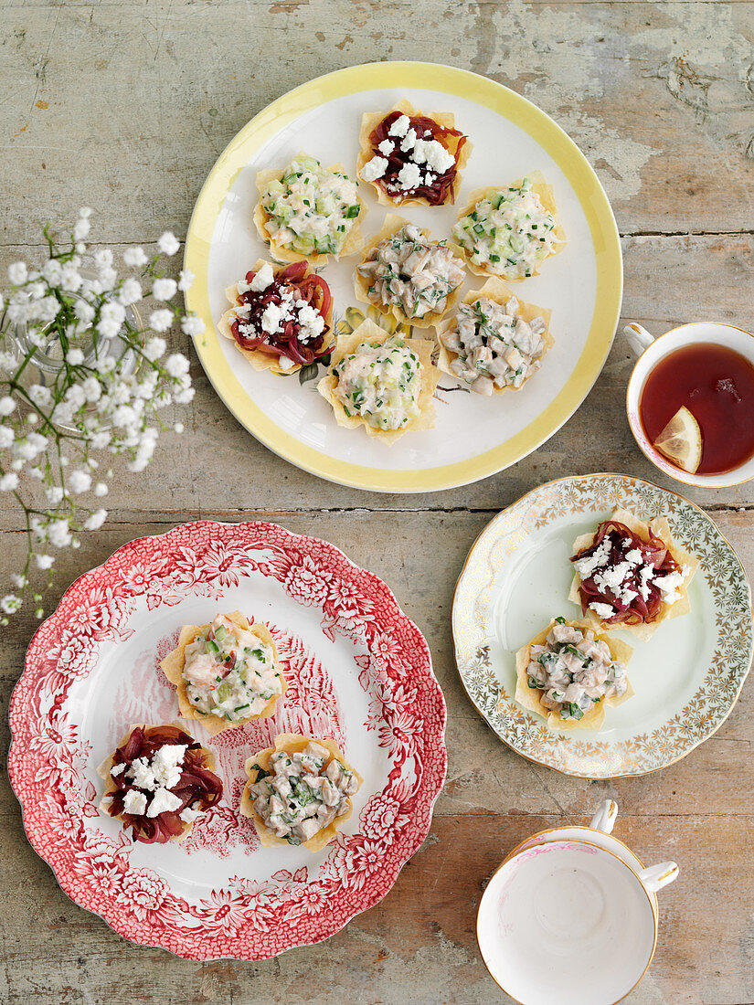 Spicy filo pastry tarts for teatime