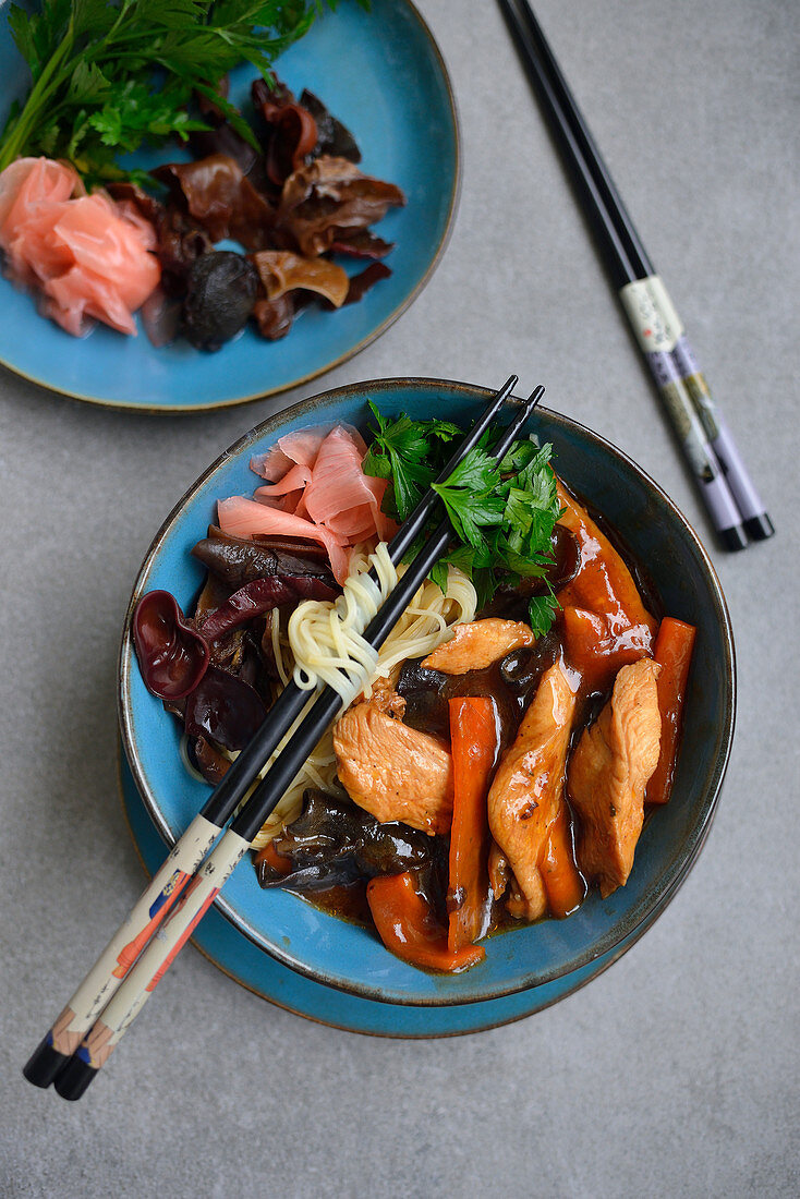 Chinese chicken with vegetables and shitake mushrooms