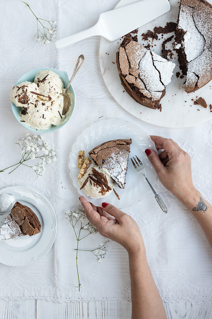 Chocolate hazelnut torte with ice cream