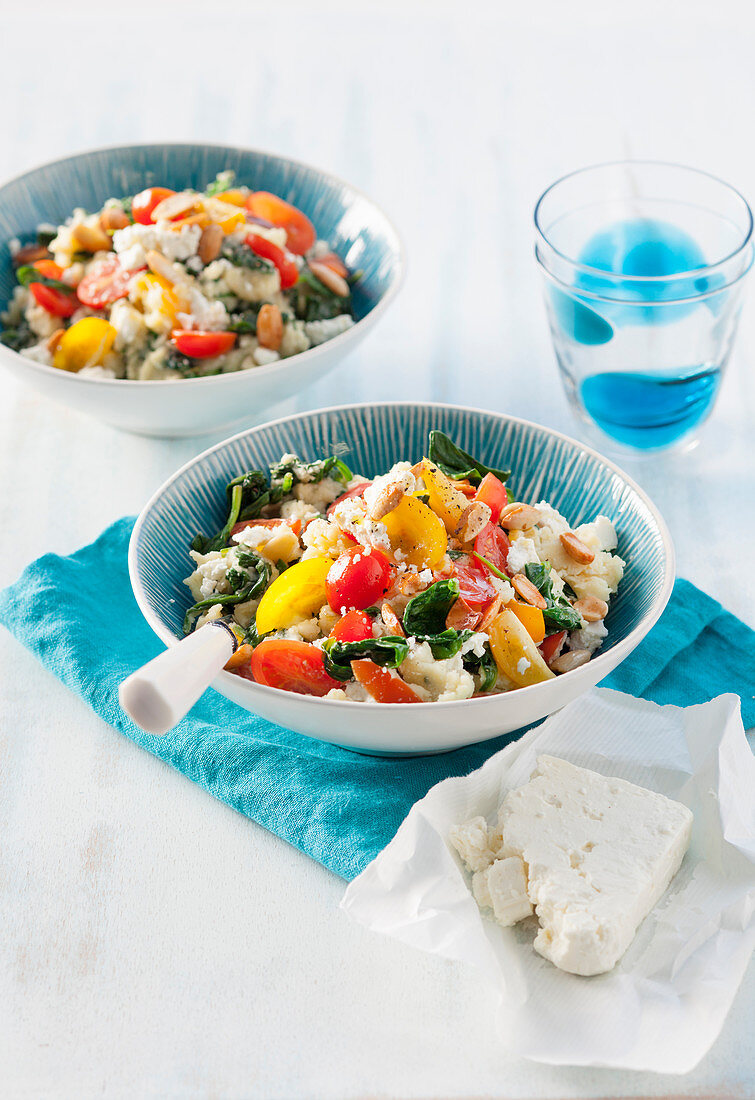 Spinach Stamppot with feta cheese and almonds