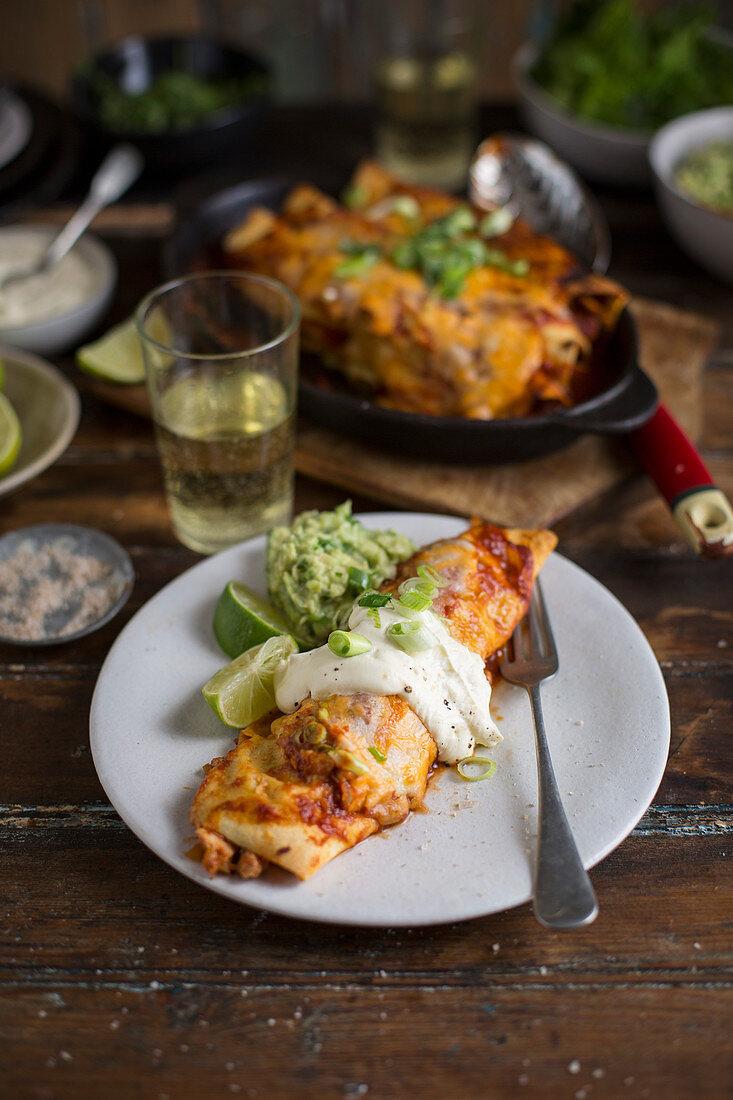 Chicken enchiladas with guacamole (Mexico)