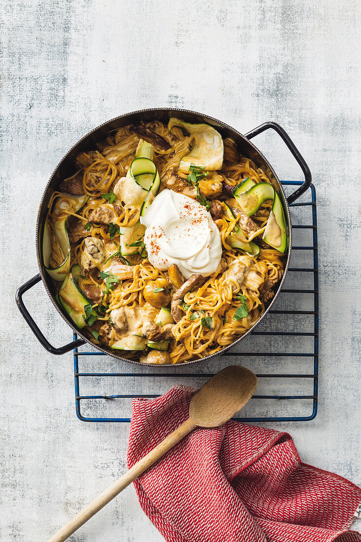 All-in-one pan Beef Stroganoff
