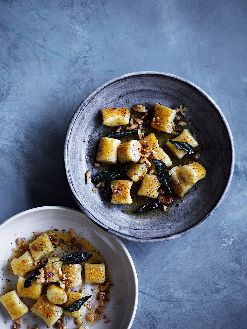 Gnocchi with sage brown butter and walnuts
