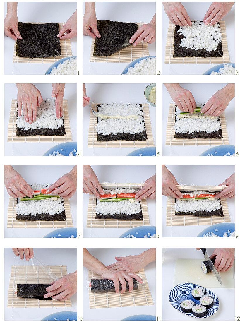 Maki-Sushi mit Surimi und Gurke zubereiten
