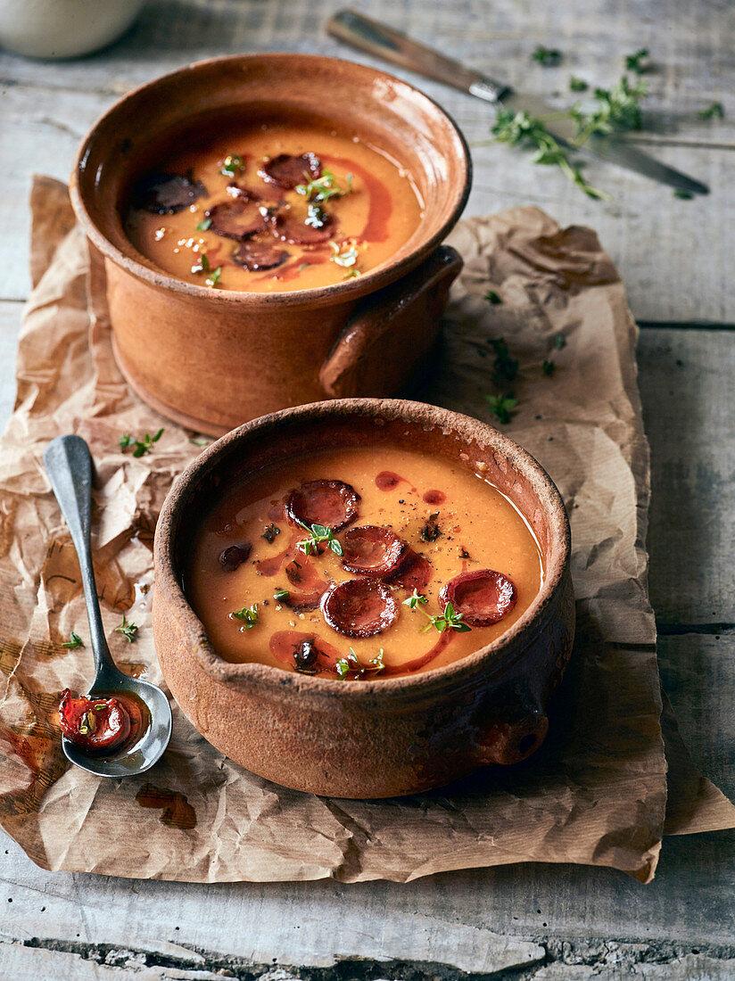 Smoky pumpkin soup with crispy chorizo