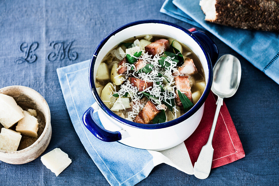 La Garbure - Cabbage stew with potatoes and bread