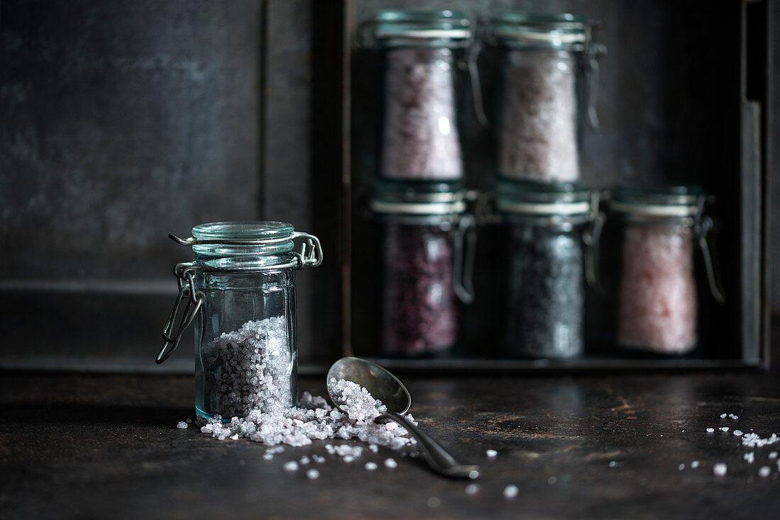 Coloured sugar in small jars