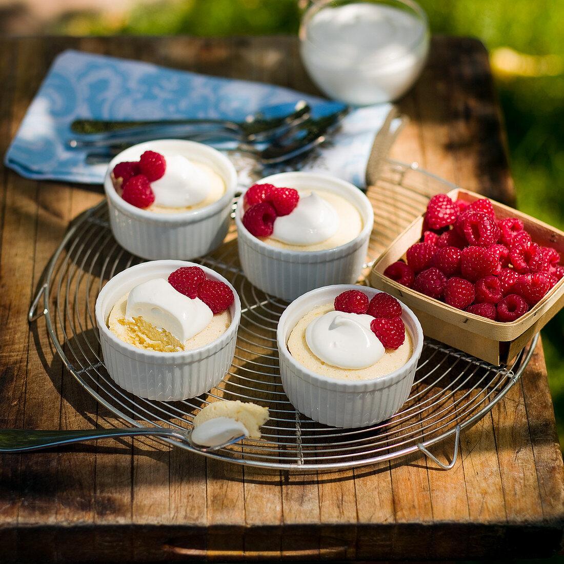 Lemon goat's cheese soufflés with raspberries