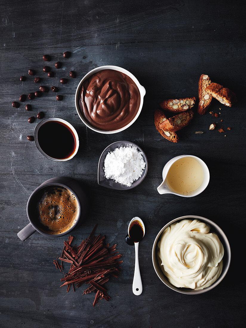 Ingredients for a mocha-tiramisu cup