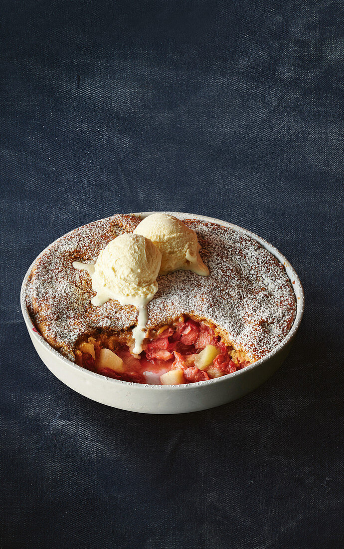 Apple and rhubarb cobbler with vanilla ice cream