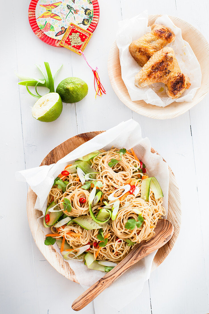Rice noodle salad with cucumber, spring onions and chillis (Asia)